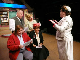 (seated) Lisa Kahn, Carli Talbott; (standing) Bill Peiffer, Nancy Teerlinck, and Donna Weeks in The Christmas Express