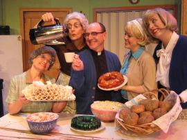Nicole Savitt, Regina Webster, Tom Walljasper, Molly Laurel, and Emily Bodkin in Church Basement Ladies