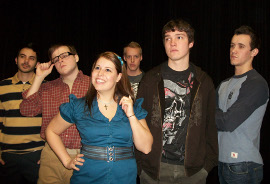 Anthony Stratton, Nick Jensen, Kayla Jackson, Andrew Bradford, Michael Kline, and Keaton Connell in Columbinus