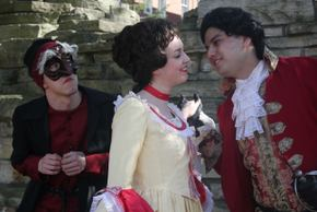 Jackson Green, Kayla Lansing, and Vince Solis in Commedia Dell'arte