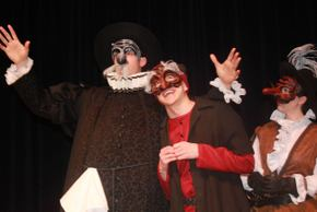Sam Jones, Jackson Green, and Amelia Fischer in Commedia Dell'arte