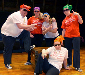 Bryan Woods, Stacy McKean Herrick, Angela Rathman, Rebecca McCorkle, and Martha O'Connell in The Complete Works of William Shakespeare Abridged