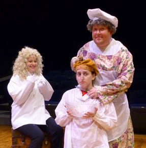 Rebecca McCorkle, Martha O'Connell, and Bryan Woods in The Complete Works of William Shakespeare Abridged