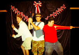 Adam Overberg, Paul Workman, and Joseph Maubach in The Complete History of America (abridged)