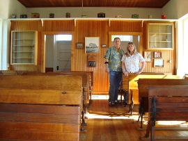 Kelly and Tammy Rundle in a one-room school in Emporia, Kansas