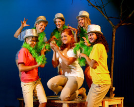 Alison Scherer (center) and ensemble members in Children of Eden