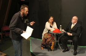 Dana Moss-Peterson directs Lisa Kahn and Scott Tunnicliff in Leaving Iowa