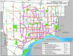 Davenport in Motion Bicycle Master Plan Map. Click for a larger version.