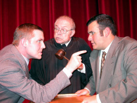 John Hannon (left), with Michael Kennedy and Dan Hernandez in Inherit the Wind