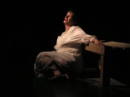 author Dee Canfield in the Prenzie Players' Trojan Women