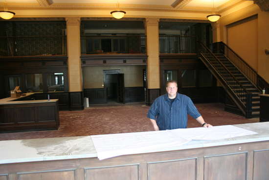 Baldwin in the lobby of the Democrat building