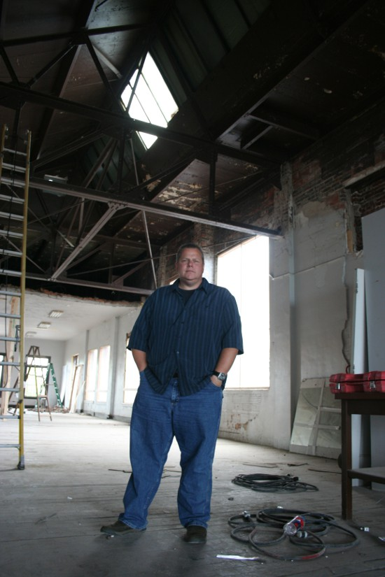 Developer Tim Baldwin in the Democrat building. The skylight, he said, will be integrated into the design of one apartment.