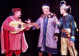Derek Bertelsen (right), with John Weigandt and Greg Golz in Once Uponn a Mattress