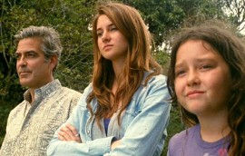 George Clooney, Shailene Woodley, and Amara Miller in The Descendants