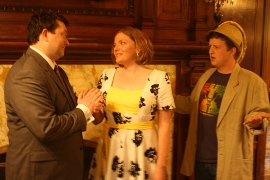 J. Adam Lounsberry, Sheri Olson, and Ben Holmes in Dirty Rotten Scoundrels
