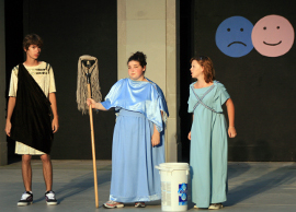 Michael Phillips, Lisa Pilgrim, and Claira Hart in Ecclesiazusae