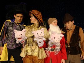 Jeremy Lagunas, Andrienne Bergeron, Sunshine Woolison-Ramsey, and Chuckie Dixon in A Fairy Tale Christmas