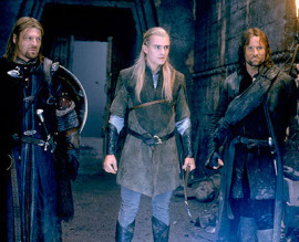 Sean Bean, Orlando Bloom, and Viggo Mortensen in The Lord of the Rings: The Fellowship of the Ring