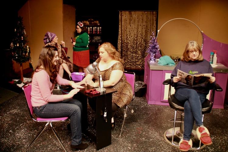 Leslie Munson, Susan Perrin-Sallak, Jaclyn Marta, Chris Sanders-Ring, and Patti Flaherty in Steel Magnolias