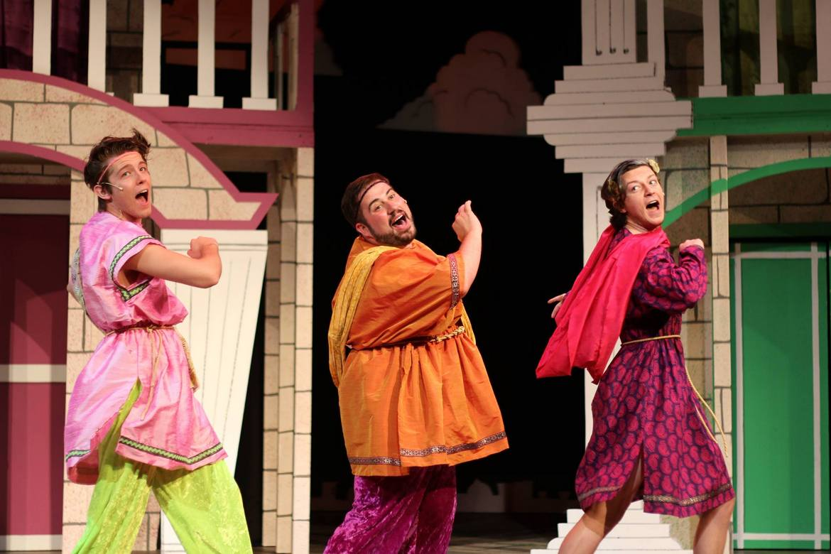 Tyler Klingbiel, Tommy Bullington, and Kieran McCabe in A Funny Thing Happened on the Way to the Forum