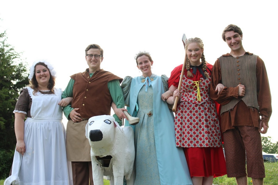 Kailey Ackermann, Ben Holmes, Sarah Lounsberry, Noel Huntley, and Cole Harksen in Into the Woods