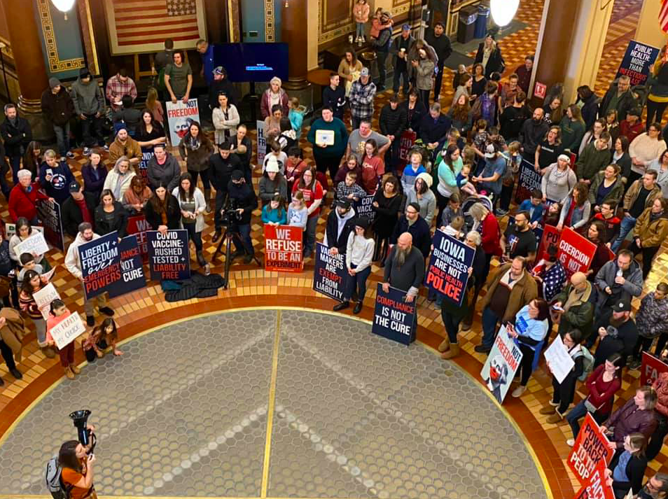 On Monday January 11, 2021 hundreds of Iowans gathered at the state capitol in Des Moines, Iowa to p