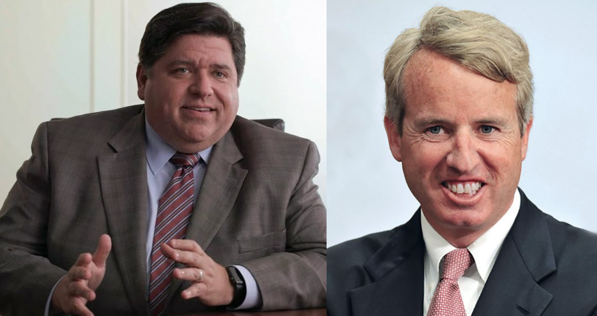 Democratic candidates for Illinois governor J.B. Pritzker and Chris Kennedy