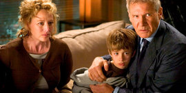 Virginia Madsen, Jimmy Bennett, and Harrison Ford in Firewall