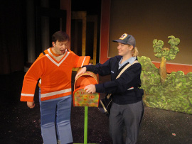 Steve Lasiter and Cari Downing in The Musical Adventures of Flat Stanley