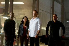 Tyrese Gibson, Michelle Rodriguez, Paul Walker, and Chris Ludacris Bridges in Furious 7