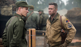 Logan Lerman and Brad Pitt in Fury