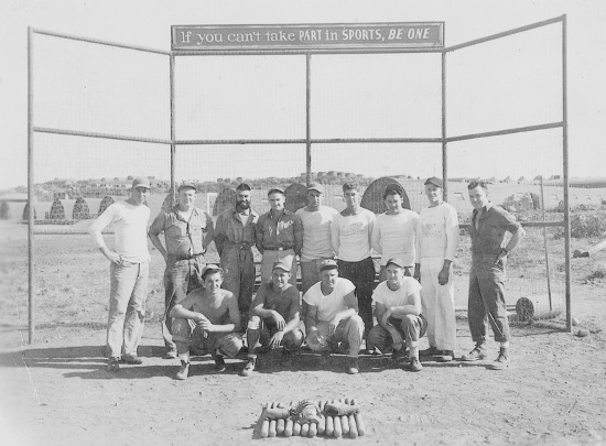 The United States Navy North African Exhibition Baseball Team in 1942. Gene Moore is in the middle of the back row.