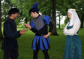 Jonathan Gregoire, Neil Friberg, and Molly McLaughlin in The Comedy of Errors