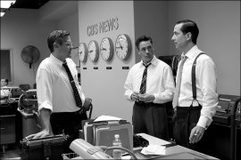 George Clooney, Robert Downey Jr., and David Strathairn in Good Night, & Good Luck