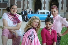 Lisa Groves, Alexa Harris, Angie Mitchum, and Amber Vick in Grease