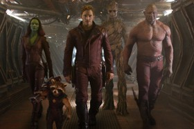 Zoe Saldana, Bradley Cooper(ish), Chris Pratt, Vin Diesel(ish), and Dave Bautista in Guardians of the Galaxy