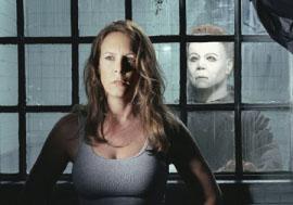 Jamie Lee Curtis and Brad Loree in Halloween: Resurrection