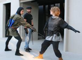 Jacob Lyon and Maggie Woolley rehearse a Henry the Sixth: The Contention fight scene with Michael King