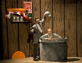 Patrick Walters and Brice Corder in the Weathervane Playhouse's Honk