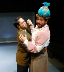 author Jason Platt (left), with Ed Villarreal, in the Playcrafters Barn Theatre's The 39 Steps