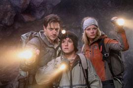 Brendan Fraser, Josh Hutcherson, and Anita Briem in Journey to the Center of the Earth