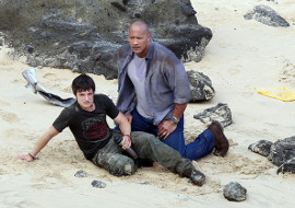 Josh Hutcherson and Dwayne Johnson in Journey 2: The Mysterious Island