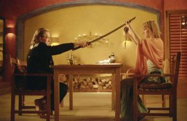 David Carradine and Uma Thurman in Kill Bill: Volume 2