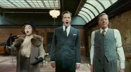 Helena Bonham Carter, Colin Firth, and Geoffrey Rush in The King's Speech