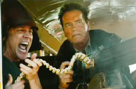 Johnny Knoxville and Arnold Schwarzenneger in The Last Stand
