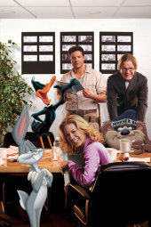 Brendan Fraser, Jenna Elfman, Steve Martin, Bugs, and Daffy in Looney Tunes: Back in Action