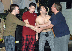 Andy Curtiss, Nathan Klaus, Jarrod DeRooi, and Mike Schulz in Love's Labour's Lost