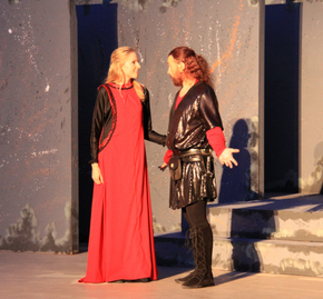 Sarah Ade Wallace and Todd Schwartz in Macbeth