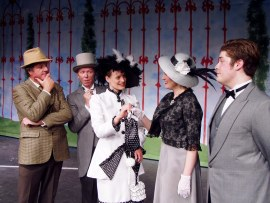 Mark McGinn (left) and Jenny Winn (center), with Harold Truitt, Susan Granet, and Nick Munson in My Fair Lady