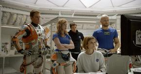 Matt Damon, Jessica Chastain, Sebastian Stan, Kate Mara, and Aksel Hennie in The Martian